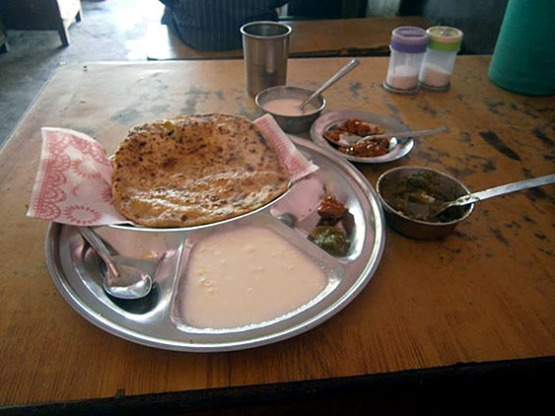 3. Breakfast, Paratha - fried thin bread, Dahi - yoghurt, Vegetables and pickles