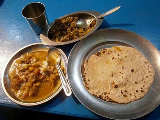 4. Lunch, Chapati - thin baked bread, Vegetable curries - chick peas and okra