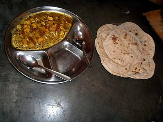 8. Mixed vegetables curry with paneer (indian cheese) plus chapati