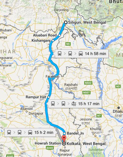 MAP Kolkata-Siliguri